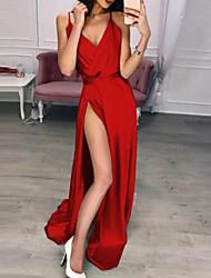 Недорогие -Жен. Элегантный стиль Оболочка Платье - Однотонный, С разрезами Завышенная На бретелях Макси / Сексуальные платья
