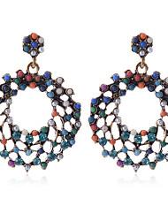 hesapli -1 çift Kadın's Klasik Damla Küpeler - İmitasyon İnci Vintage sevimli Stil Mücevher Gökküşağı Uyumluluk Randevu Cadde