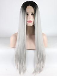 voordelige -Pruik Lace Front Synthetisch Haar Dames Recht Ombre Middelste stuk 180% Human Hair Density Synthetisch haar 18-26 inch(es) Verstelbaar / Hittebestendig / Elastisch Ombre Pruik Lang Kanten Voorkant