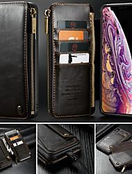 Недорогие -CaseMe Кейс для Назначение Apple iPhone X / iPhone XS Max Кошелек / Бумажник для карт / со стендом Чехол Однотонный Твердый Кожа PU для iPhone XS / iPhone XR / iPhone XS Max
