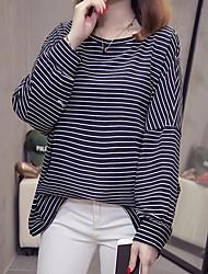 olcso -női ázsiai méretű túlméretezett póló - színes blokk kerek nyak
