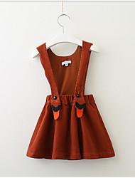 Χαμηλού Κόστους -Παιδιά / Νήπιο Κοριτσίστικα Γλυκός Μονόχρωμο Αμάνικο Φόρεμα Καφέ