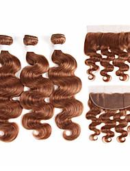 abordables -3 paquets avec fermeture Cheveux Brésiliens Ondulation naturelle Cheveux Naturel Rémy Extensions Naturelles Trame cheveux avec fermeture 10-26 pouce Naturel Tissages de cheveux humains Doux Meilleure