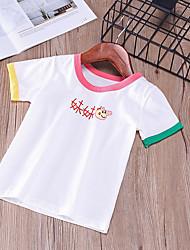 billige -Barn Gutt Aktiv Daglig / Skole Trykt mønster Trykt mønster Kortermet Normal Bomull / Akryl / Polyester T-skjorte Svart