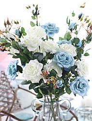 levne -Umělé květiny 3 Větev Klasické Evropský Pastýřský Styl Růže Květina na stůl