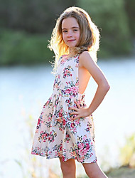 cheap -Kids / Toddler Girls' Cute Daily Floral Lace / Lace up / Print Sleeveless Polyester Dress White