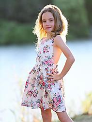 ราคาถูก -เด็ก / Toddler เด็กผู้หญิง สไตล์น่ารัก ทุกวัน ลายดอกไม้ ลูกไม้ / รองเท้าผูกเชือก / ลายพิมพ์ เสื้อไม่มีแขน เส้นใยสังเคราะห์ กระโปรงชุด ขาว