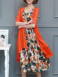 رخيصةأون -فستان نسائي قياس كبير كلاسيكي عصري شيفون راقي أنيق مطوي طباعة طول الركبة الأحمر والأسود هندسي كم ورقة البتلات, مناسب للخارج / مثير