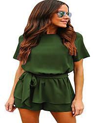 저렴한 -여성용 스트리트 쉬크 세트 - 솔리드, 뒷면이 없는 스타일 팬츠