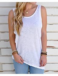 저렴한 -여성용 솔리드 뒷면이 없는 스타일 - 티셔츠, 베이직