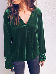 저렴한 -여성용 솔리드 티셔츠, 베이직