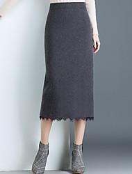 Χαμηλού Κόστους -Γυναικεία Εφαρμοστό Κομψό στυλ street Φούστες - Μονόχρωμο