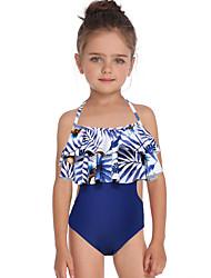 ราคาถูก -เด็ก / Toddler เด็กผู้หญิง พื้นฐาน / สไตล์น่ารัก Sport / ชายหาด ลายดอกไม้ ระบาย / ลายพิมพ์ เสื้อไม่มีแขน ไนลอน ชุดว่ายน้ำ สีน้ำเงิน
