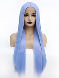ieftine -Lănțișoare frontale din sintetice Drept Stil Partea centrală Față din Dantelă Perucă Albastru Albastru celest Păr Sintetic 22-26 inch Pentru femei Rezistent la Căldură / Dame / cald Vânzare Albastru