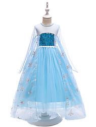 Χαμηλού Κόστους -Παιδιά / Νήπιο Κοριτσίστικα Ενεργό / Γλυκός Πάρτι Μονόχρωμο Πούλιες Μακρυμάνικο Μακρύ Φόρεμα Θαλασσί