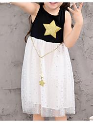 お買い得  -幼児 女の子 活発的 日常 幾何学模様 / カラーブロック ノースリーブ 膝丈 ドレス ホワイト