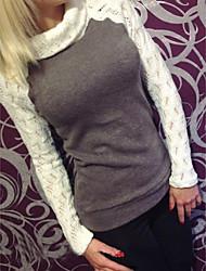 hesapli -kadın asya boyutu pamuk ince tişört - renkli blok yuvarlak boyun