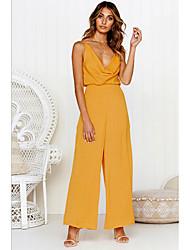 זול -ללא שרוולים M L XL גב חשוף אחיד, סרבלים רגל רחבה ורוד מסמיק צהוב בגדי ריקוד נשים