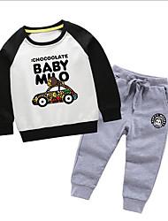 billige -Barn / Baby Gutt Grunnleggende Tegneserie Langermet Polyester Tøysett Blå