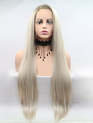 cheap -Synthetic Lace Front Wig kinky Straight Style Layered Haircut Lace Front Wig Golden Light golden Synthetic Hair 24 inch Women's Women / Ombre Hair Golden / Green Wig Long Sylvia 130% Density Natural