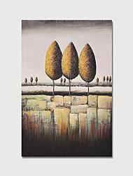 זול -ציור שמן צבוע-Hang מצויר ביד - מופשט פרחוני / בוטני מודרני כלול מסגרת פנימית