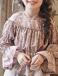 billige -Barn Jente Aktiv Geometrisk Langermet Polyester Skjorte Rosa