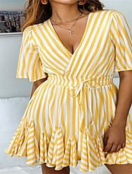 رخيصةأون -فستان نسائي ثوب ضيق فوق الركبة مخطط منخفضة V رقبة