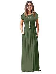 Недорогие -Жен. Классический Оболочка Платье - Однотонный Завышенная Макси / Сексуальные платья