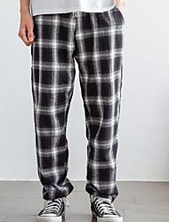 זול -בגדי ריקוד גברים בסיסי צ'ינו מכנסיים משובץ דמקה