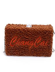 Χαμηλού Κόστους -Γυναικεία Τσάντες Βελούδο Τσάντα ώμου Γράμμα Ρουμπίνι / Ανθισμένο Ροζ / Καφέ
