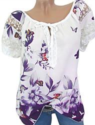 Недорогие -женская футболка азиатского размера - геометрическая / цветочная шея