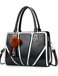 preiswerte -Damen Taschen PU Tragetasche Bommel Gestreift Purpur / Kaffee / Kamel