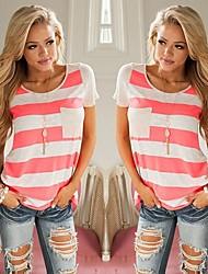 Χαμηλού Κόστους -γυναικείο ασιατικό μέγεθος λεπτό μπλουζάκι - μπλοκ χρώμα γύρο λαιμό