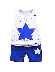 זול -סט של בגדים ללא שרוולים סרוג כחול ולבן בנים תִינוֹק