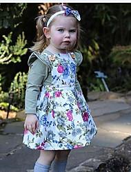 billige -Baby Jente Grunnleggende / Gatemote Daglig Blomstret Drapering Langermet Normal Bomull / Polyester Tøysett Hvit