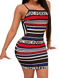 رخيصةأون -فستان نسائي A line ثوب ضيق أساسي غير متماثل لون سادة منخفضة V رقبة / مثير