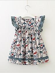 お買い得  -幼児 女の子 甘い / かわいいスタイル 幾何学模様 半袖 ドレス ホワイト