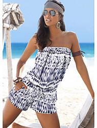 저렴한 -여성용 일상 스트리트 쉬크 끈없는 스타일 푸른 브라운 오렌지 와이드 레그 롬퍼스, 줄무늬 주름장식 / 휴일 / 프린트 M L XL 민소매 봄 여름 가을