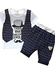 billige -Baby Gutt Grunnleggende Daglig Trykt mønster Kortermet Normal Normal Bomull Tøysett Navyblå