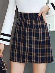 Χαμηλού Κόστους -Γυναικεία Γραμμή Α Κομψό στυλ street Φούστες - Καρό