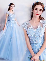 זול -Cinderella שמלות בגדי ריקוד נשים תחפושות משחק של דמויות מסרטים כחול שמלה האלווין (ליל כל הקדושים) קרנבל נשף מסכות אורגנזה כותנה רקמה