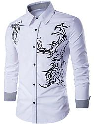 Недорогие -Муж. Рубашка Тонкие Геометрический принт / Длинный рукав