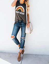 Недорогие -Женская футболка из хлопка азиатского размера с круглым вырезом