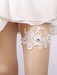 ราคาถูก -ลูกไม้ เกี่ยวกับเจ้าสาว Wedding Garter กับ เข็มกลัด / คริสตัล / พลอยเทียมต่างๆ สายรัด งานแต่งงาน / ปาร์ตี้