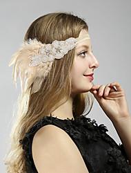 Χαμηλού Κόστους -Υπέροχος Γκάτσμπυ Δεκαετία του 1920 Gatsby Στολές Γυναικεία Κορδέλα μαλλιών του 1920 Καλύμματα Κεφαλής Μπεζ Πεπαλαιωμένο Cosplay Πάρτι Χοροεσπερίδα Φεστιβάλ