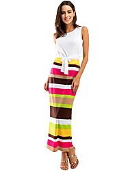 Недорогие -женское повседневное макси платье из двух частей с высокой талией оранжево-синее s m l xl