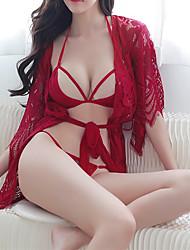 Недорогие -Жен. Сексуальные платья Бебидол / маечка Ночное белье - Кружева Однотонный / V-образный вырез