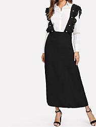 baratos -Mulheres Básico Evasê Vestido Sólido Longo