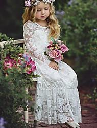 Χαμηλού Κόστους -Μωρό Κοριτσίστικα Βασικό Μονόχρωμο Μακρυμάνικο Βαμβάκι Φόρεμα Λευκό