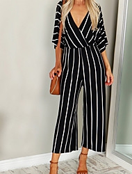 7accc4fcb9ac cheap -Women  039 s Daily Deep V White Black Wide Leg Jumpsuit